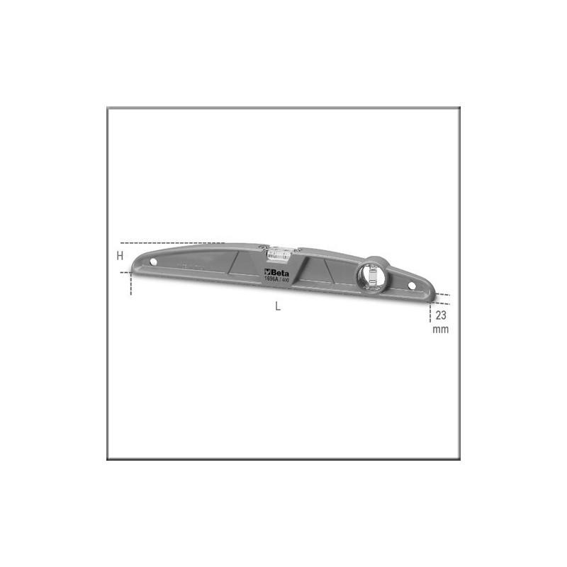Уровни из литого алюминия, 1 упор, 2 небьющихся ампулы, точность измерения: 1мм/м - Beta 1696A